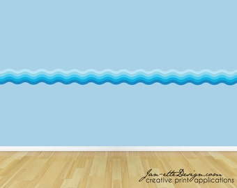 Ocean Wave Wall Decal Border,Removable Fabric Wall Sticker, Beach and Ocean Theme