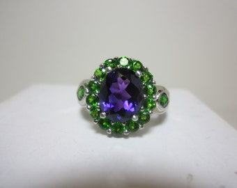 Untreated La Capilla Amethyst and Chrome Diopside Ring