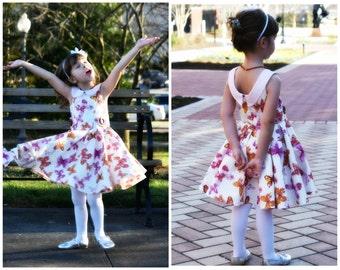 Girls Party Dress PDF Sewing Pattern - The Vivienne- , skater dress, toddler dress, girls dress sewing pdf pattern, twirl dress