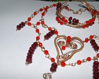 Gemstone,Blood Topaz, Ruby Jade ,Wirewrapped,Choker, Necklace
