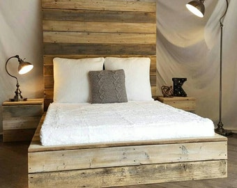 The modern industrial reclaimed wood plank platform bed, grey, white