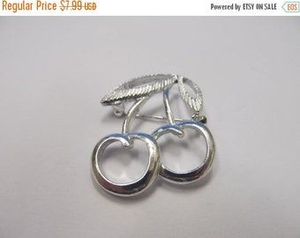 ON SALE SARAH Coventry Silver Tone Cherry Pin Item K # 540