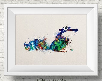 Scrat from Ice Age Watercolor Children's Wall Art Nursery Art Home Decor Wall Hanging