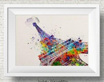 Eiffel Tower-Watercolor-Paris Print-Parisian-Cityscape - Paris - Fine Art Print