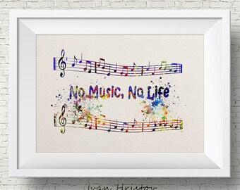 No Music, No Life Quote Music Print, printable wall art decor / poster, Abstract music-watercolor painting print - teen wall decor, wall art
