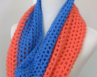 Crocheted Cowl Shawl Neck Warmer Salmon and Blue