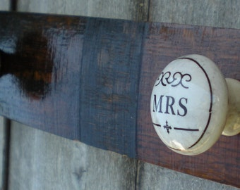 Mr. and Mrs. Towel Holders Coat Hooks  French Oak Whiskey Barrel Towel Hooks Mud Room Coat Hooks