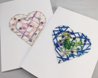 Valentine's cards, hand stitched cards, hearts, beaded cards, beaded hearts, embroidered cards, Valentine's Day