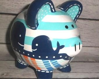 Hampton whale etsy - Nautical piggy banks ...