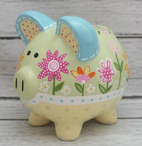 Personalized piggy bank custom hand painted ceramic piggy for How to paint a ceramic piggy bank