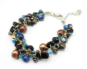 Lapis,freshwater pearl,hematite on silk thread bracelet.