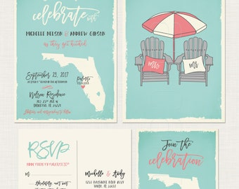 Florida - substitute with your state - Wedding Invitation RSVP Set with adirondack beach chairs