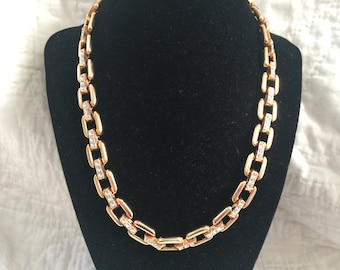 Vintage Goldtone and Rhinestone Chain Necklace, Length 19''