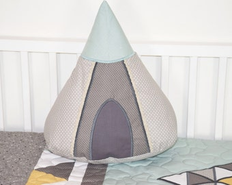 Teepee Pillow, Tipi Cushion, Tent Pillow for Native American Nursery, Tribal decor for Kids Room. Shower Gift for Kids, teal yellow gray