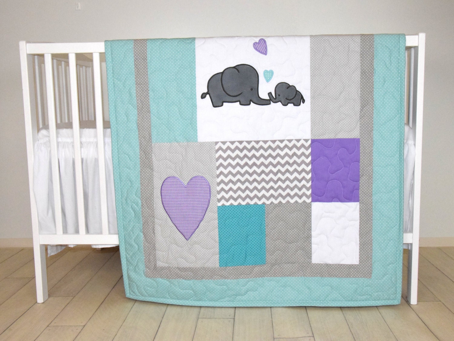 Elephant Baby Quilt Teal Gray Purple Crib Bedding Gray