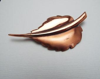 Copper Leaf Brooch Pin Signed Renoir