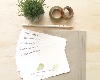 Notecard Pack - Green Bird on Branch - Set of 5 Notecards and Envelopes - NOT028