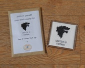 Game of Thrones cross stitch coaster kit - Stark sigil - stitch it yourself!