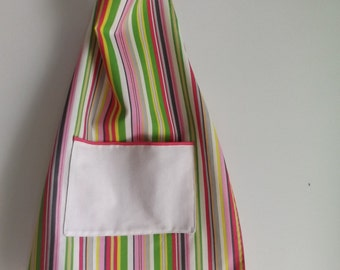 Child's Top-Stitched Apron in Fun Striped Pattern of Pinks, Gray, Yellow and Green with White Pocket in Green