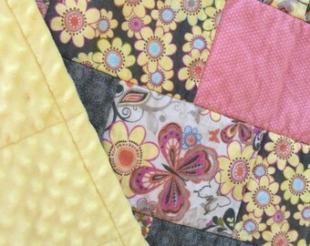 """Quilt - Handmade with Flannel Prints of Butterflies snd Flowers and Yellow Minky; Baby Crib Blanket; Throw Quilt; Patchwork Quilt; 41"""" X 50"""""""