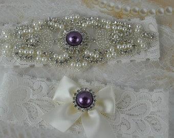 Bridal Garter,Wedding Garter Set, Purple Wedding Garter, Purple Bridal Garter