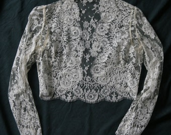 Bolero, long sleeves, French Lace, Vintage 1980 's