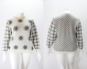 Plus Size Sweater - Stars Plaid and Argyle - Grey and Ivory