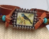 Sundance Leather cuff bracelet Native American Bracelet Cowgirl Turquoise amethyst bird Sterling Silver
