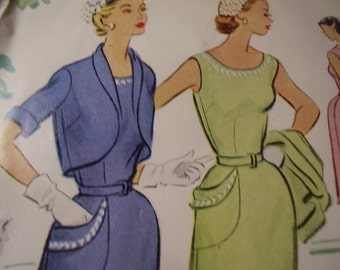 Vintage 1950's Dress and Blouse Sewing Pattern, Size 12, Bust 30