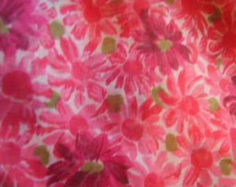 Vintage 1950's, 60's Reds, Green Sheer Floral Fabric, 5 yards plus