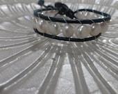 Fresh Water Pearl Dark Teal Leather Bracelet