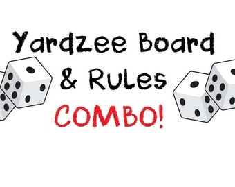 Sale! PRINTABLE. Yardzee Score Card WITH RULES Combo. Yardzee Board. Lawn Yahtzee Score Card. Digital Download