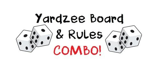 ... Score Card WITH RULES Combo. Yardzee Board. Lawn Yahtzee Score Card