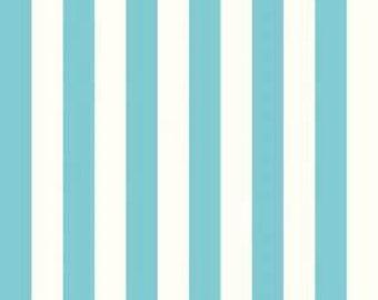 Le Creme Aqua and Cream 1 inch Stripe by Riley Blake