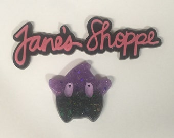 Kawaii Luma Star Gamer Glittery Purple & Black Resin Cabochon Necklace Pendant or Keychain. You Choose.