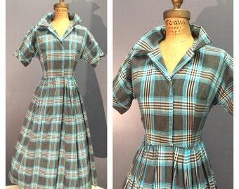 TURQUOISE GINGHAM PLAID 1950's Vintage 50s Shirtwaist Day Dress w Rhinestone Button Dolman Sleeves S