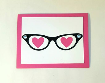 eyes for you handmade anniversary/love/valentine/anytime lined greeting card