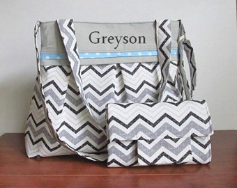 Monogrammed Chevron Diaper Bag Set for Boy in Gray and Baby Blue Dots with Matching Changing Pad