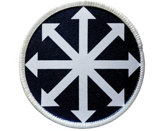 Patch - CHAOS SYMBOL Heat Seal / Iron on Patch for jackets, shirts, tote bags, hats, beanies, cases and more