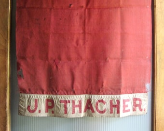 Antique Family Banner Flag, Antique Flag, Antique Banner, Red Linen Banner, Antique Banner, Vintage Flag, Thacher Family, Wall Decor Hanging