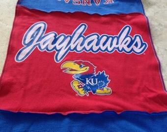 KU University of Kansas Jayhawks T Shirt Scarf Necklace Red White Blue