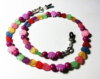 Kids Colorful Eyeglass Holder - Rainbow Hearts