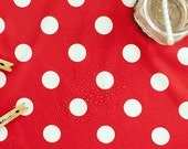 Waterproof Fabric 2.7 cm White Dots on Red - By the Yard 89612