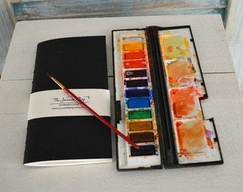 Black watercolor journal, MTN, midori insert , fauxdori refil ,  with 48 pages Fabriano 190 gsm supreme watercolor paper
