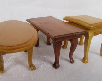 3 wood dollhouse tables  coffee table/end table/and oval coffee table