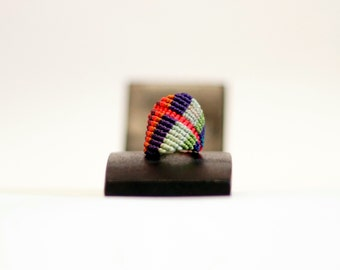macrame ring · micromacramé ring · sensitive skin ring · multicolour ring · comfortable ring · textile ring · macrame jewelry