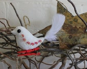 Christmas bird ornament - hand embroidered white felt with red beads, red sequins and silver thread