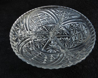 Vintage Cut Glass Serving Dish