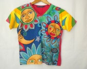Vintage 90s Sun and Moon T Shirt Psychedelic Whimsical Bold Bright Colors Boho Hippie Top Size Small