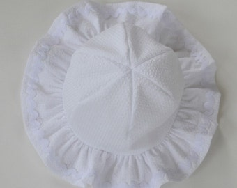 """Sunhat hat for toddler girl, girl's summer hat, white seersucker hat, gift idea, white ruffle hat, rick rack trim hat, sizes 18"""" to 21""""."""